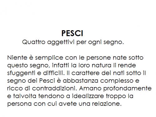 PESCI – Quattro aggettivi per ogni segno.