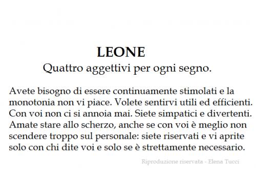LEONE – Quattro aggettivi per ogni segno.