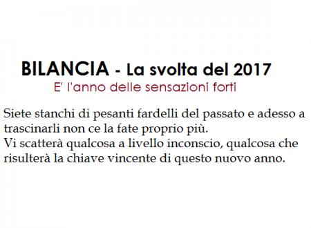 BILANCIA – La svolta del 2017.