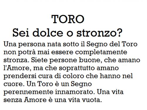 TORO – Sei dolce o stronzo?